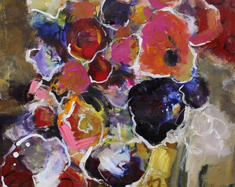 """ABSTRACT FLORAL PAINTING """"Bounty"""" Acrylic on 15"""" x 22"""" cradle board Original Art by Elizabeth Chapman"""