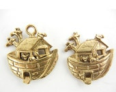 Set of 2 Ark Charms Gold-tone Pewter