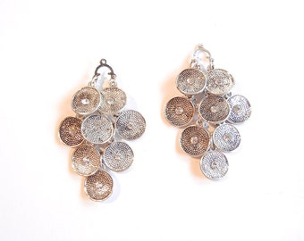 Pair of Disc Drop Charms Antique Silver-tone