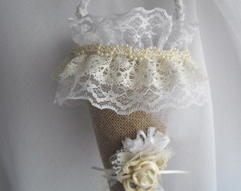 Burlap White And Cream Large Wedding Cone Tussie Mussie Flower Girl Basket Accented Pearls Ribbon Victorian Inspired handmade handcraftusa