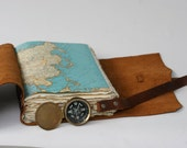 "Custom Leather Travel Journal MD 6"" x 9"" with Handmade paper, map, names and date"