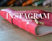 Instagram Photo Album for Valentines Day /Leather Bound Album / Magenta Leather / Skeleton Key