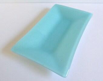 Fused Glass Platter in Pale Aqua