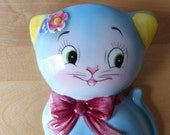 Vintage Norcrest Blue Kitty Cat Wall Pocket / Planter - Stock Number CT-11 - Made in Japan