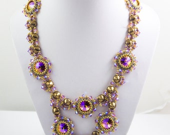 GLACIERRA Amazing Swarovski Rivoli  Beadwork Necklace tutorial instructions for personal use only