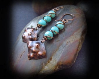 Hammered Copper and Turquoise Earrings - Wire Wrapped Jewelry Handmade - Wire Wrapped Earrings - Artisan Copper Earwires - WARRIOR'S SHIELD