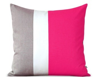 Colorblock Pillow Cover in Hot Pink, Cream and Natural Linen by JillianReneDecor, Bright Summer Home Decor, Color Block Striped Trio (20x20)