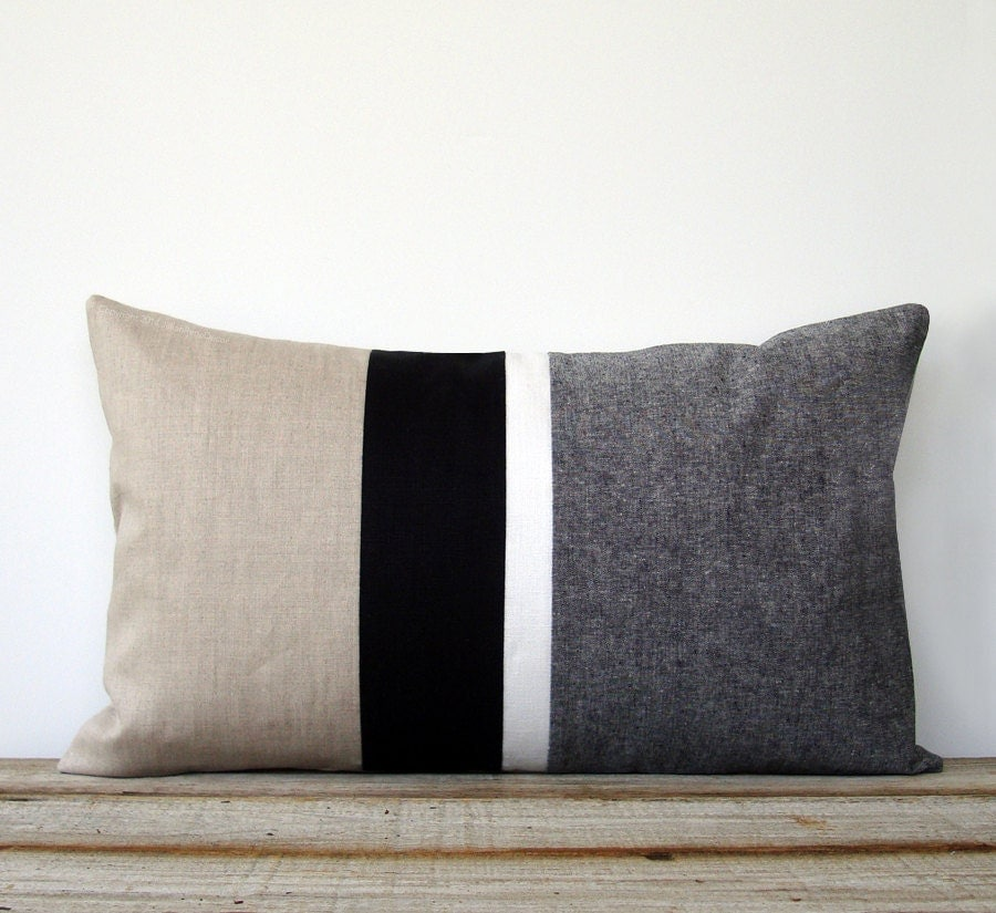 Black and White Chambray Striped Lumbar Pillow 12x20 Modern