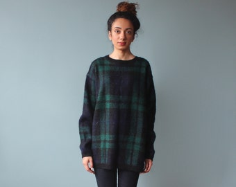 oversized plaid sweater / mohair pullover / 1990s / small - large