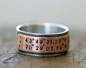 Reserved for Lynn K - Latitude Longitude Wedding Ring Mixed Metal Band (E0210)