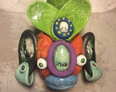 RESERVED FOR LORRAINE:  Ceramic japanese oni mask, wall hanging
