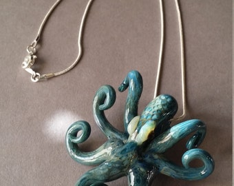 Ocean color aqua Octopus pendant with chain or cord