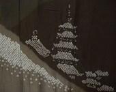 Vintage juban S233, brown grey silk, men, shibori