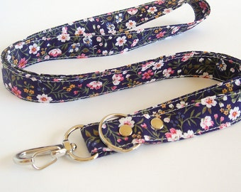 Lanyard, Fabric Lanyard, Key Lanyard Holder, Teacher Lanyard, ID Badge Holder,Student, Nurse Lanyard in Midnight Floral