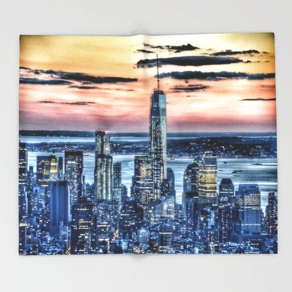 New York - Manhattan Landscape Throw Blanket, Super Soft Blanket, Home Decor, Luxorious Blanket, Office Throw, City Blanket, Dorm, Urban