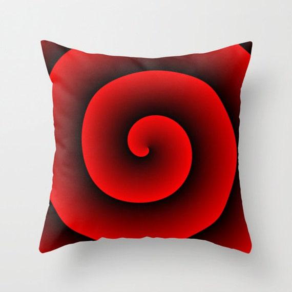 Black Red Spiral Throw Pillow, Decorative Pillow, Black Red Cushion, Hypnotic Design, Modern Decor, Unique Pillow, Contemporary, Dorm,Office