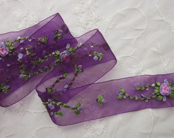 35 Inches Hand Embroidered Purple Organza Sequin Flower Ribbon Trim Antique Vintage Baby Doll Christening Gown