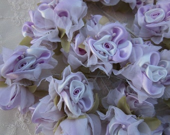 36pc Chic LAVENDER WHITE Satin Organza Ribbon Wired Rose Peony Flower Reborn Doll Bridal Wedding Bow Hair Accessory Applique