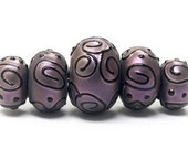 ON SALE 30% OFF Handmade Glass  Lampwork Beads - Five Grad Light Purple Pearl Surface Rondelle Beads 11204511