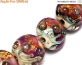 ON SALE 30% OFF Seven Cranberry Treasure Lentil Beads - Gold - Lampwork Glass Bead Set 10108902