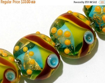 ON SALE 50% OFF Four Amazon Parrot Lentil Beads 11007112 - Handmade Glass Lampwork Bead Set