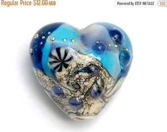 ON SALE 35% OFF Transparent Blue Seashell Heart Focal Bead - Handmade Glass Lampwork Bead 11815905