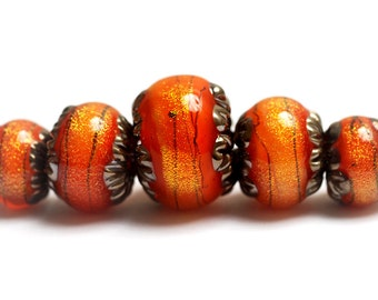 NEW! Glass Lampwork Beads - 10706811 Five Bonfire Shimmer Graduated Rondelle Bead Set