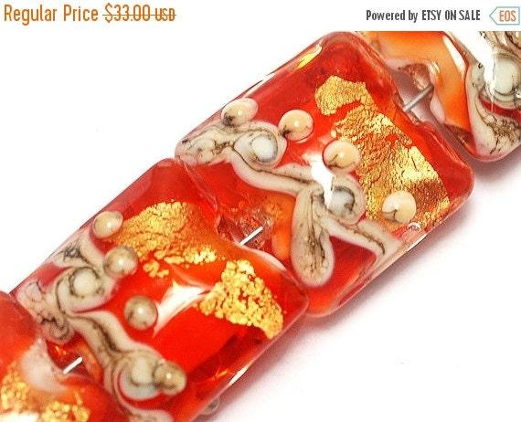 ON SALE 50% OFF Four Fire Island Treasure Pillow Beads - Lampwork Glass Bead Set 10705314