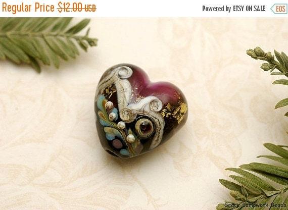 ON SALE 40% OFF Amethyst Treasure Heart Focal Bead - Handmade Glass Lampwork Bead -11818505