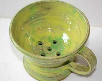 Yellow Green Colander For Berries and  Grapes Hand Thrown Stoneware Holds about One Pint