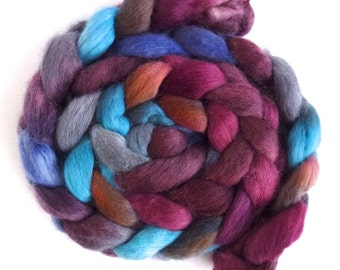 Corriedale Wool Roving - Hand Painted Spinning or Felting Fiber, Those Red Leaves