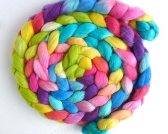 Polwarth/Silk Roving - Handpainted Spinning or Felting Fiber, Sweet Voices