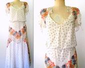 1970s Floral Dress / 70s Bohemian Floral Dress / Semi-sheer Floral Dress / Border Print Dress