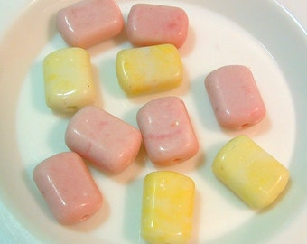 RARE Pastel Czech 16mmx10mm Flat Rectangle  BEADS with Glaze Wash Vintage 1940s - (10)