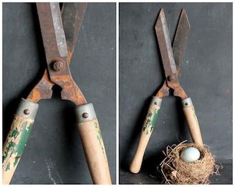 Vintage Garden Shears, Super Rusty Weathered Primitive Rustic Gardening Tool