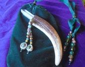 Beaded Quartz Crystal Point / Carved Shed Elk Antler Wand w/ Unakite / Tiger Eye / Moss Agate / Pearls / Amber / Jade Gemstone Beads