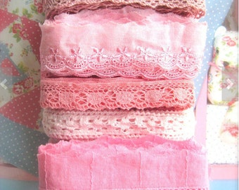 Country Rustic Wide Thin Dark Light Pink Floral Crochet Cotton Lace Ribbon Trim Set 11 Designs 22 Meters