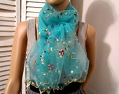 RESERVED  for Flaxnlinen - Blue Scarf Vintage silk tulle scarf with embroidery