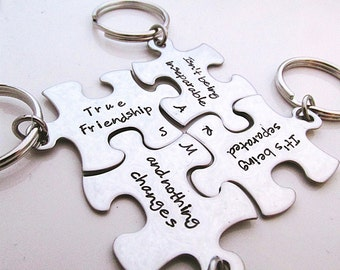 Hand Stamped Puzzle Keychains - Bridesmaid Keychains - Set of 4 - Personalized Bridesmaid Gift - Best Friend Keychains - BFF True Friendship