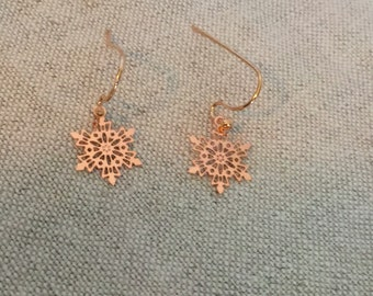 Rose gold snowflake earrings