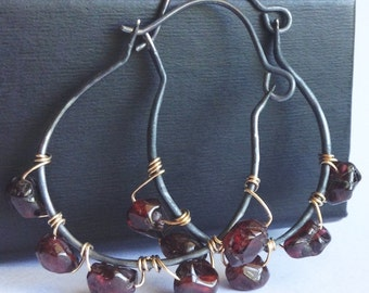 Garnet Hoop Earrings - Hammered Sterling Silver Earrings - Gold Fille Wire Wrapped Earrings