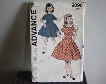 Advance Dress Pattern #9096 for Girls' One Piece Dress Size 10