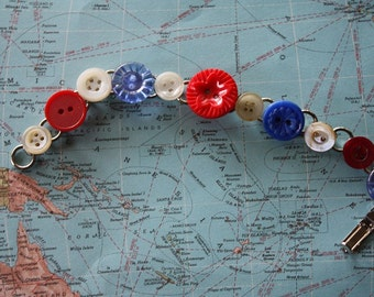 Red White and Blue Vintage Button Bracelet