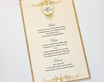 Harper Glitter Menu Cards - Wedding Menus - Elegant Menu Cards - Vintage Glam Menu - Gold Glitter Ivory Sample