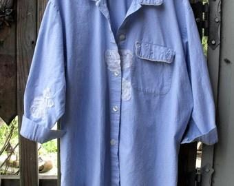 Chambray Smock/ Oversized Smock/Garden Smock/ Chambray-Lace-Pearls Smock/ Blue Chambray Shirt/ Sheerfab Funwear