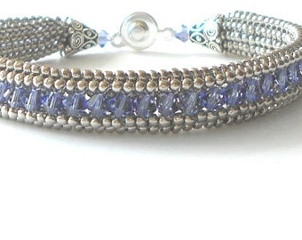 crystal beaded bracelet swarovski blue bead jewelry seed bead bangle