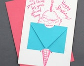 A Sweet Treat for your Special Day! Happy Birthday -  Letterpress Gift Card Holder