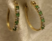 Vintage Vermeil Emerald Diamond Pierced Hoop Earrings Marked RSE and 925 Four Emeralds and 1 Tiny Diamond in Each 7/8 Inch Earring (J134)