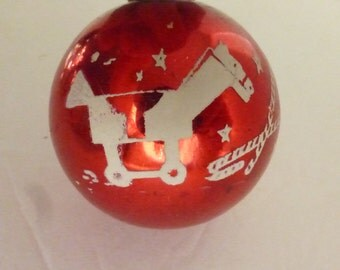 Vintage Shiny Brite Stenciled Ornament Red with Toys