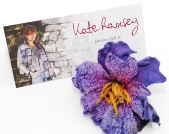 Felted brooch , silk flower, brooch, pin, violet